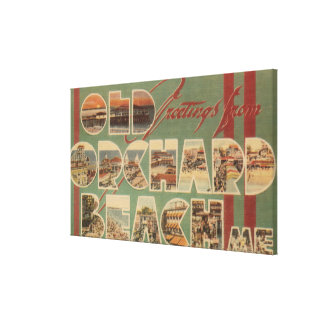 Old Orchard Beach, Maine - Large Letter Scenes Canvas Print