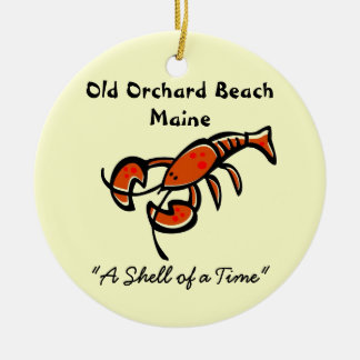 Old Orchard Beach, Maine Lobster Double-Sided Ceramic Round Christmas Ornament