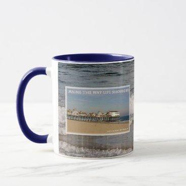 Beach Themed Old Orchard Beach Pier Maine Mug
