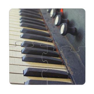 Old Organ Keys Puzzle Coaster