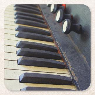 Old Organ Keys Square Paper Coaster