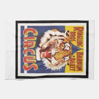 Old original vintage tiger circus poster 1900s kitchen towel