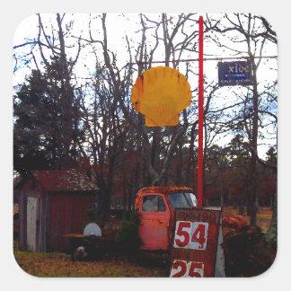 Old OutHouse  Vintage Pick Up Truck Junkyard Scene Square Sticker