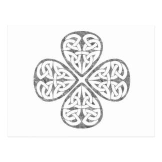 old paint shamrock celtic knot postcard
