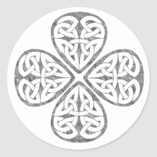 old paint shamrock celtic knot classic round sticker