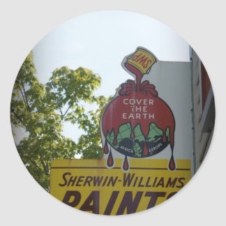 Old Paint Sign Classic Round Sticker