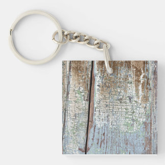 Old painted distressed wood background keychain