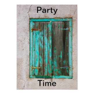 """Old Painted Shutters Party Time Invitation 5"""" X 7"""" Invitation Card"""
