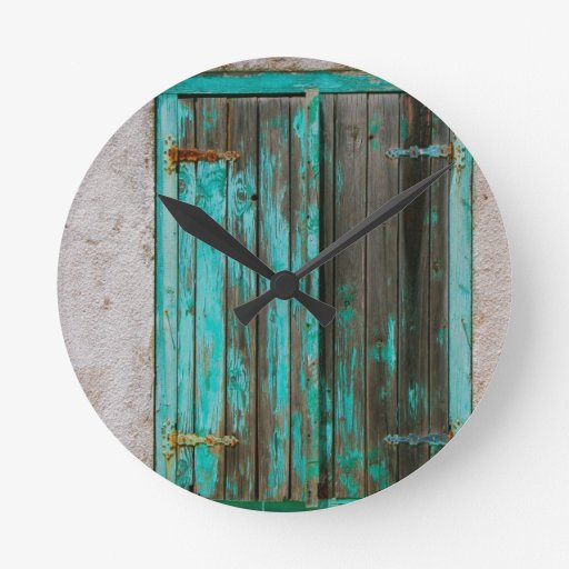 Old Painted Shutters Wall Clock