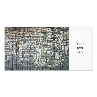 Old painted wood background customized photo card
