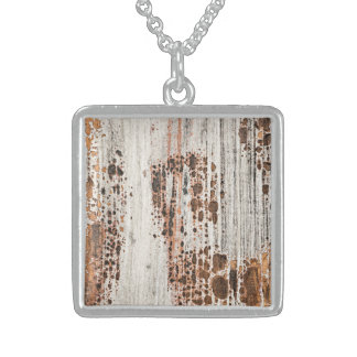 Old painted wood texture personalized necklace