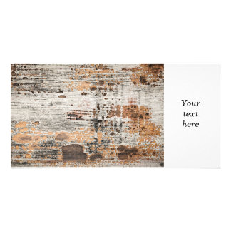 Old painted wood texture photo card template