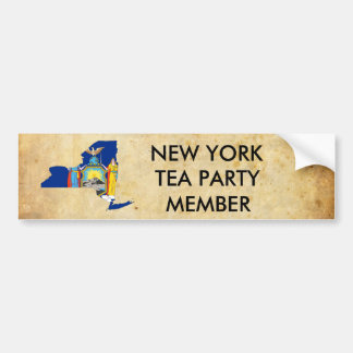 old_paper, 460px-Flag-map_of_New_York.svg, NEW ... Car Bumper Sticker