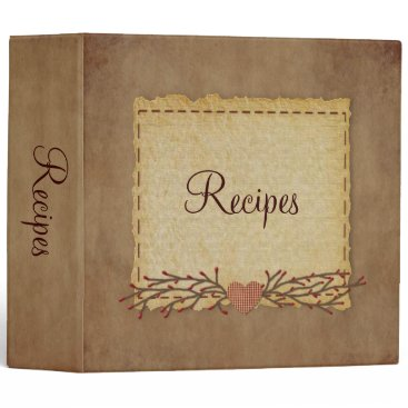 Valentines Themed Old Paper Look Recipe Binder