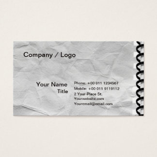 old paper notebook with Spiral Business Card