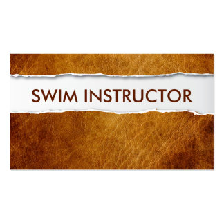 Old Paper Swim Instructor Business Card