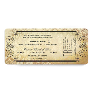 "Old Paper Ticket Flourish Typography Wedding 4"" X 9.25"" Invitation Card"