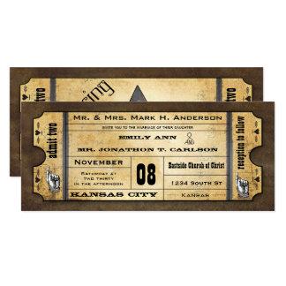 Old Paper Ticket Vintage Modern Typography Wedding Card