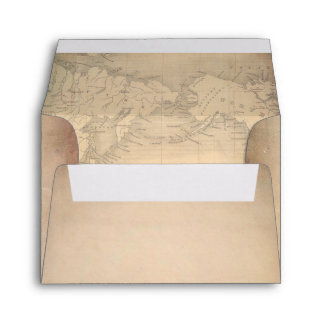 Old Paper Vintage World Map RSVP Envelope