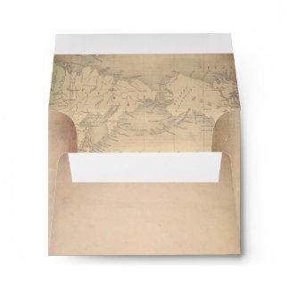 Old Paper Vintage World Map RSVP Envelope