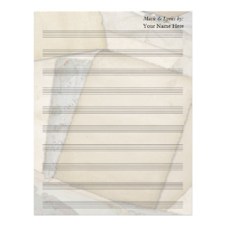 Old Papers Blank Sheet Music 10 Stave Customized Letterhead