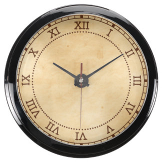 Old Parchment Background Stained Mottled Look Fish Tank Clock