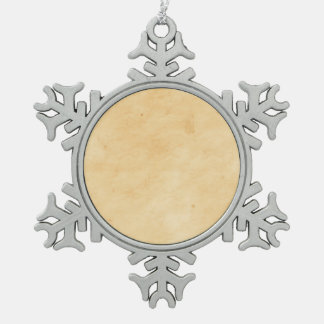 Old Parchment Background Stained Mottled Look Snowflake Pewter Christmas Ornament