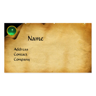 OLD PARCHMENT, GEM STONE, MONOGRAM green Double-Sided Standard Business Cards (Pack Of 100)