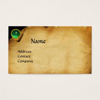 OLD PARCHMENT, GEM STONE, MONOGRAM green Business Card