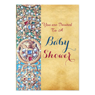 OLD PARCHMENT GEMSTONES,PEARLS,ANGELS Baby Shower 5.5x7.5 Paper Invitation Card