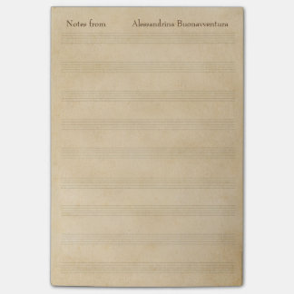 Old Parchment Look Blank Music Staff Custom Text Post-it Notes