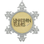 Old Parchment Paper Unicorn Tears Celtic Knot Snowflake Pewter Christmas Ornament