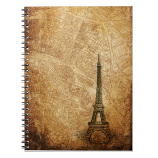 Old Paris Map and Eiffel Tower Notebook