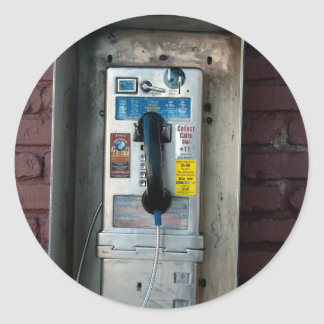 old pay phone classic round sticker