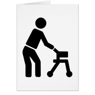 Old person man walking frame card