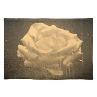 Old Photo Beautiful Pink Rose Close-up Cloth Placemat