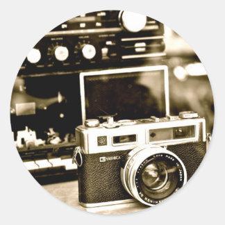 Old Photo Camera Classic Round Sticker