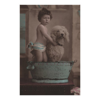 Old Photo Little Kid with Dog In Bathtub CUTE Poster