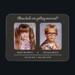 "Old Photo Save the Date Magnets<br><div class=""desc"">Old photo save the date magnets with a dark gray design.  The text reads: &quot;These kids are getting married!&quot;. Upload an old school yearbook photo or a picture from an old photo album. Personalize the custom fields with your own save the date wording.</div>"