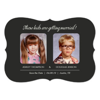 Old Photo Save the Dates Bracket Die-Cut Card