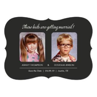 Old Photo Save the Dates Bracket Die-Cut Card