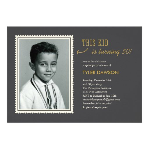 """Old Photo Surprise Birthday Party Invitations 5"""" X 7"""