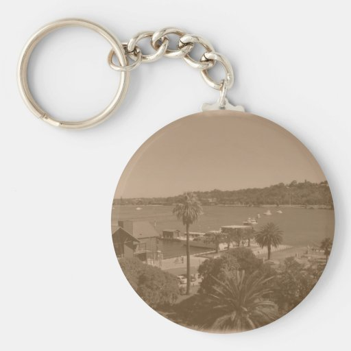 Old Photo Swan River Basic Round Button Keychain