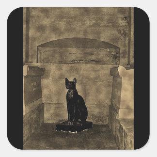 Old Photo Tomb Cat Square Sticker