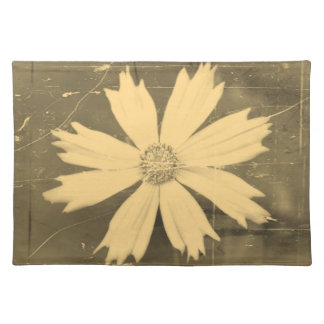 Old photo Yellow Cosmos Flower Close-up 2 Cloth Placemat