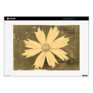 """Old photo Yellow Cosmos Flower Close-up 2 Decal For 15"""" Laptop"""
