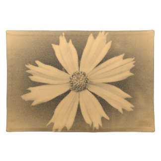 Old photo Yellow Cosmos Flower Close-up 3 Cloth Placemat
