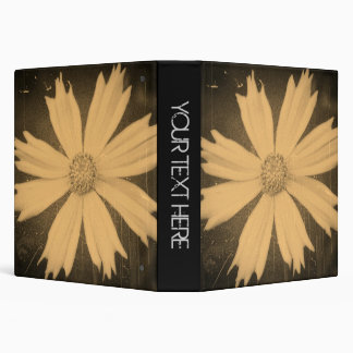 Old photo Yellow Cosmos Flower Close-up 3 Ring Binder