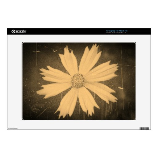 Old photo Yellow Cosmos Flower Close-up Laptop Decals