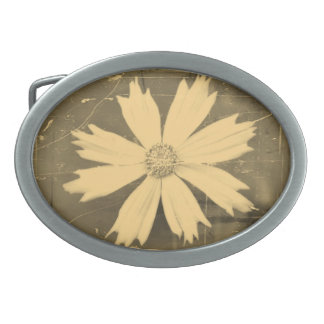 Old photo Yellow Cosmos Flower Close-up Oval Belt Buckle